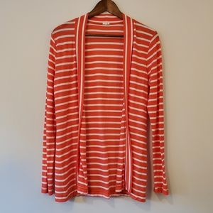 J CREW open cardigan red and white striped m